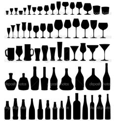 Glass and bottle vector silhouette collection — Stock Vector ...