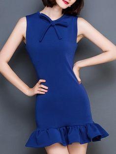 bowknot falbala mermaid, Bowknot Falbala Classical Bodycon Dress