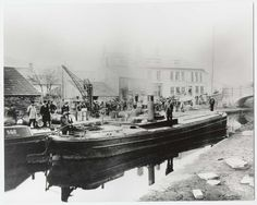 Steam driven canal barge outside Queens Hotel, Trallwn, Pontypridd, c. 1895
