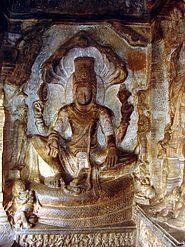 Vishnu on Shesha, Badami Cave 3, Chalukyas, about 578AD.