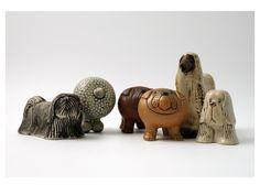 Lisa Larson (Swedish, b.1931) | Ceramic 'Kennel' series, 1972 | Skye terrier, Poodle, Bulldog (7 cm), Afgan Hound (11 cm) and    Spaniel | Gustavsberg, Sweden
