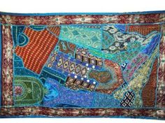 Amazon.com - Indian Tapestry, Blue Red Traditional Wall Hanging Indian Wall Decor Tapestry