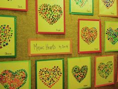 heart mosaics #valentines #art  thinking about this except with fingerprints and white and pink.
