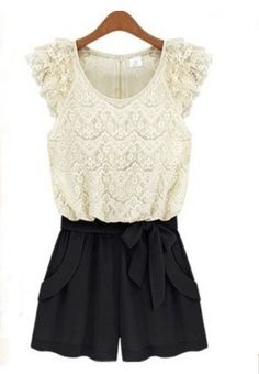 White Floral Lace Cap Sleeve Zip Back Bow Front Jumpsuit - Sheinside.com -- oooh my! lovely!