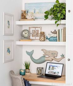 Coastal Style Desk with Shelving and Beach House Decor Create a work area out of a small nook nice! Beach Cottage Style, Beach Cottage Decor, Coastal Style, Beach Apartment Decor, Beach Kitchen Decor, Modern Coastal, Coastal Bedrooms, Coastal Living Rooms, Beach Cottage Bedrooms