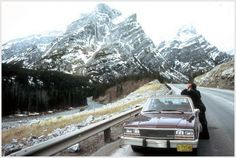 Climbing trip to Banff, Canada, 1983 ~ a stop to recce Mnt. Kidd ice-fall, seen central to the mountain massif.