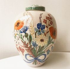 Stor Urna / Vas  Med Blommor i Keramik  av Elsi Bourselius  40  - tal  vase swedish ceramics flower via RY.AR.YA. Click on the image to see more!