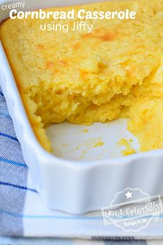 This Easy to make Creamy Cornbread Casserole using Jiffy Cornbread Mix is moist and delicious. Made with both sour cream and cream-style corn. Jiffy Recipes, Jiffy Cornbread Recipes, Corn Recipes, Fall Recipes, Holiday Recipes, Corn Bread Jiffy, Kid Recipes, Creamed Corn Cornbread, Recipes