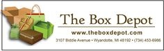 The Box Depot: Your One-Stop Packaging Resource = All sizes, shapes, materials of boxes, bags and pouches, shipping material, tissue paper, kraft paper, etc