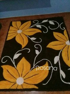 Bed Cover Design, Painted Rug, Flower Quilts, Floral Area Rugs, Yarn Thread, Black Rug, Modern Carpet, Room Rugs, Rug Hooking