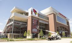 New Redbird signage is installed at the Hancock Stadium construction site in mid-September 2013. Opening day is set for September 21 vs. Abilene Christian.