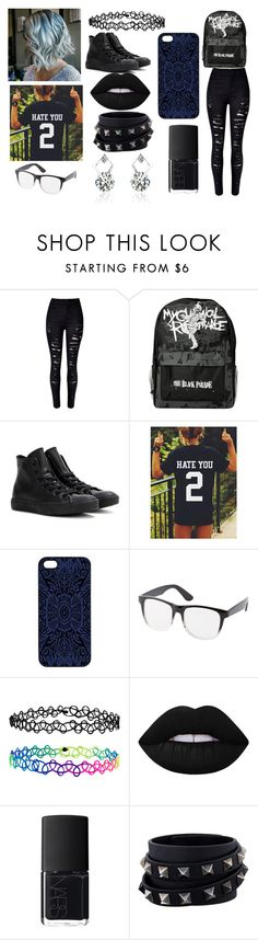 """IDK #2"" by donna-is-me ❤ liked on Polyvore featuring Converse, Samantha Warren London, Charlotte Russe, Accessorize, Lime Crime, NARS Cosmetics and Valentino"