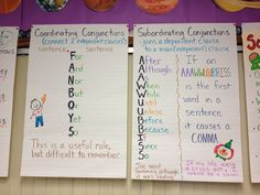 Coordinating an subordinating conjunctions anchor charts
