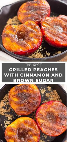 These Grilled Peaches with Cinnamon and Brown Sugar are a delicious, healthier dessert. With just 4 ingredients, you can have this dish ready in minutes! Grilled Desserts, Köstliche Desserts, Delicious Desserts, Yummy Food, Healthier Desserts, Fruit Recipes, Desert Recipes, Nutella Recipes, Baked Peach