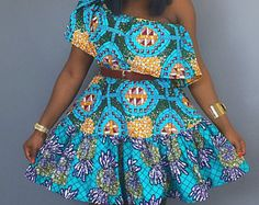 Impression épaule robe, vetements africains, robe wax, épaule robe, robe de Ankara, Wax africain mix