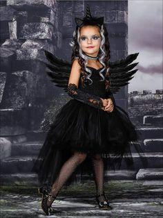 Dark Unicorn Costume, Black Angel Costume, Dark Fairy Costume, Black Wings Costume, Diy Halloween Costumes For Kids, Scary Costumes, Halloween Dress, Halloween Unicorn, Kids Costumes Girls
