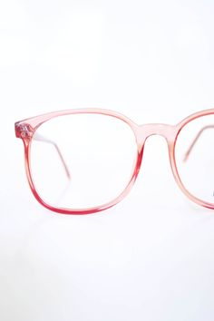 5fb5d16279 Vintage Pink Oversized Eyeglasses Round Wayfarer Sunglasses 1970s Chic  Watermelon Pastel Crystal Clear 70s Festival Coachella Geek Chic