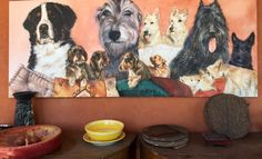 Family  group ,Zerlina breeder. Acrylic on canvas painted by lucilla bollati.com #dogs#art#petlovers
