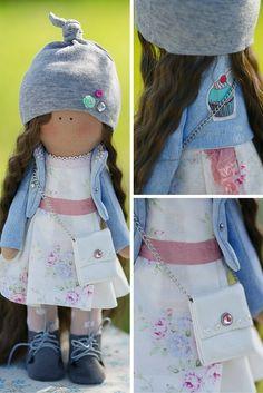Sun doll Tilda doll Art doll Holiday doll handmade blue brown green color Soft…