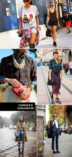Look, outfit, streetsyle, fashion, moda, chess, tartan, xadrez, pattern, classic, estampa, padrões classicos, shirts, camisas