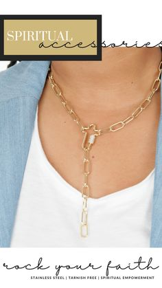 Gold cross paperclip necklace fashion accessories for Christian women. Gold cross carabiner paperclip chain necklace that is both inspiration and fashionable. #Christianinspiredgifts Simple Jewelry, Dainty Jewelry, Gifts For Friends, Gifts For Her, Layering Necklaces, Personalized Gifts For Mom, Dainty Gold Necklace, Gold Cross, Christmas Gifts