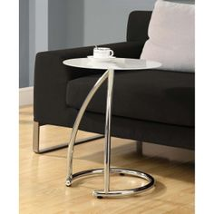 Furnituremaxx Chrome Metal Accent Table With Frosted Tempered Glass : End Tables