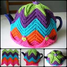 Crochet Justjen's Easy Ripple Tea Cosy with free pattern