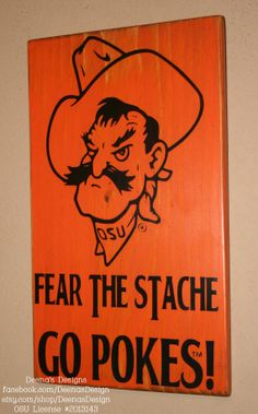 Oklahoma State Pistol Pete | Oklahoma State University Wall Art, OSU Cowboys, Distressed Wood Signs ...