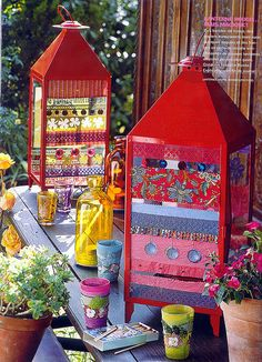 Gypsy Party - Bohemian Chic Decorations - Lanterns and votives - bright colored glass and fabrics Gypsy Caravan, Gypsy Wagon, Gypsy Decor, Bohemian Decor, Bohemian Soul, Boho Chic, Kitsch, Gypsy Party, Arts And Crafts