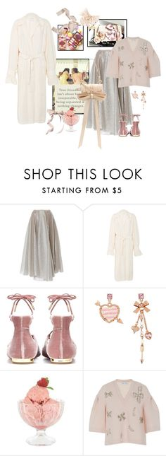 """""""All girly"""" by juliabachmann ❤ liked on Polyvore featuring Dice Kayek, Ms Min, Aquazzura, Too Faced Cosmetics, Betsey Johnson, Bormioli Rocco and Niels Peeraer"""