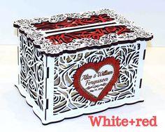 Wedding Money Box, Wedding Card Box With Lock Personalized Card Holder, Wedding Gift Card Box, Wooden Money Box, Wedding Keepsake Box Rose by GiftsAndWeddingCo on Etsy