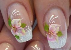 Wedding Nails, Bridal Nail Art Ideas - Bridal Nail Designs For Your Wedding Day. Invite glances on your bridal nails done by wedding nail art designers. Nail Art Designs, Bridal Nails Designs, Bridal Nail Art, Nail Designs Pictures, Flower Nail Designs, Fingernail Designs, Floral Designs, Wedding Day Nails, Wedding Nails Design