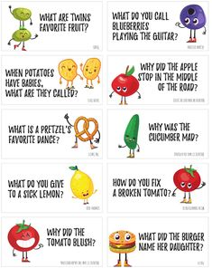 Funny Food Jokes to print and share! These printable food jokes are super corny and will fill you up with laughter! Print these funny food jokes on cardstock in color and cut them apart and slip them into your child's lunch. Funny Food Jokes, Funny Jokes For Kids, Funny Jokes To Tell, Silly Jokes, Dad Jokes, Food Humor, Toddler Jokes, Cute Jokes, Funny Memes