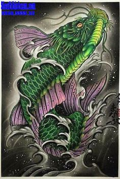 Japanese Snake Tattoo, Japanese Tattoo Designs, Koi Fish Drawing, Koi Fish Tattoo, Koi Art, Fish Art, Time Tattoos, Sleeve Tattoos, Koi Fish Designs