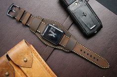 CUFF   Leather Strap  incl. Lugs Adapter for Apple by Pionier1956