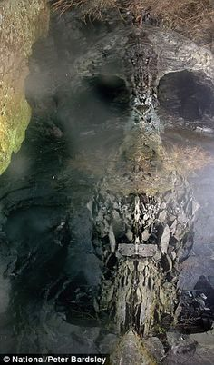 The photo of the cave in Hodge close quarry, when turned on its side, displays an ominous image of a skull