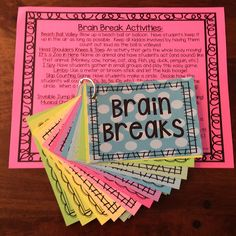 BRAIN BREAKS! 40 creative & silly activities to get kids up and moving when they need a break to refocus their energy. Store brain break cards on a metal ring for easy access.