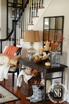 FALL HOUSE TOUR-FOYER-neutral fall colors-stonegableblog.com