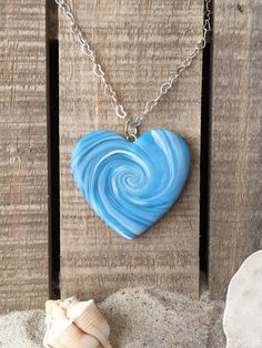 Beach Inspired Marbled Wave Heart Pendant 1 1/2