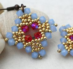 Periwinkle and Hot Pink Crystal Diamond Earrings
