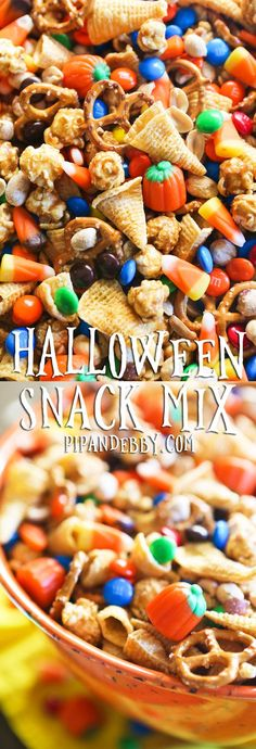 This sweet and salty Halloween Snack Mix is a great Fall snack to  have on hand and it's also great for Fall- or Halloween-themed parties! #halloweensnacks #halloweenfood #snackmix #pipandebby