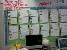 6th Grade Bulletin Board. Percents, discount rate and tax
