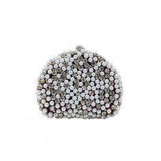 Elegant Sparkle Satin Rhinestone Beaded Pearl Purse Wallet Bag, Wedding Party Clutch Handbag-Red