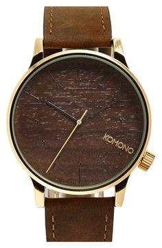 Komono 'Winston' Round Leather Strap Watch, 41mm available at #Nordstrom