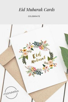 Start a Tradition With Eid Card Giving Ramadan Cards, Eid Cards, Greeting Cards, Eid Mubarak 2018, Eid Mubarak Card, Eid Envelopes, Brush Lettering Quotes, Eid Al Fitr, Aesthetic Painting