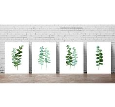 Eucalyptus Leaves set of 4 Botanical Prints. Minimalist Scandinavian Room Decoration. Green Leaf Watercolour Painting. Botanical Plant Poster Kitchen Illustration. A price is for the set of 4 different Eucalyptus Art Prints as in the first picture.  Type of paper: Prints up to (42x29,7cm) 11x16 inch size are printed on Archival Acid Free 270g/m2 White Watercolor Fine Art Paper and retains the look of original painting. Larger prints are printed on 200g/m2 White Semi-Glossy Poster Paper…