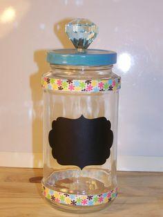 Blue Jewel Handle Chalkboard Jar With Ribbon