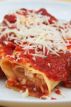 Italian Beef and Cheese Manicotti Dinner #Recipe. I'll use Italian sausage instead of hamburger.