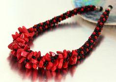 Rojo coral y negro ágata declaración Kumihimo trenza grueso