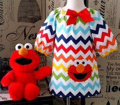 Sesame Street Elmo 3/4 Sleeves Peasant Dress in a Multi Color Chevron - Riley Blake fabric
